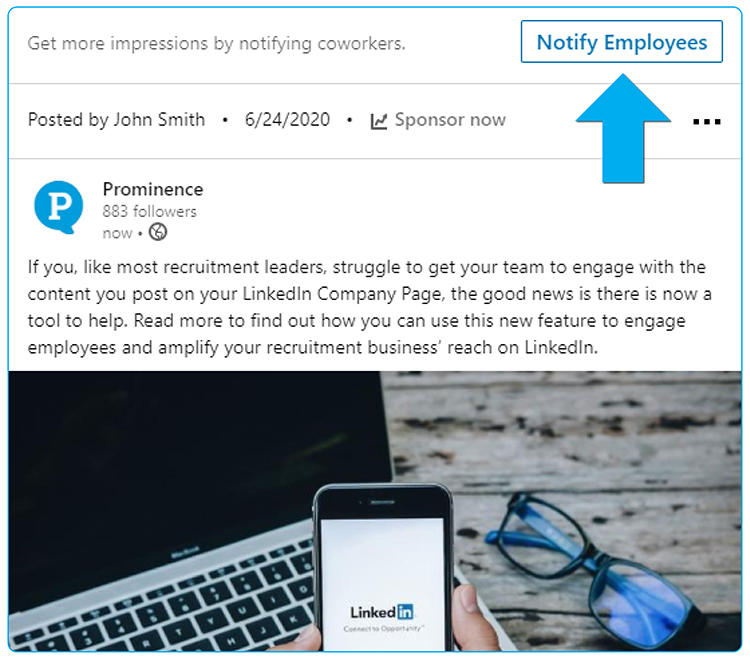 How to notify your employees about a new post from your LinkedIn Company Page